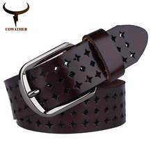 COWATHER 2016 new Women Cow Genuine leather hollow Korea fashion belts for women female pin buckle cinto feminino free shipping