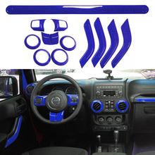 12Pcs Blue ABS Steering Wheel Trim Air Condition Vent Interior Accessories Door Handle Cover Kits For Jeep Wrangler JK