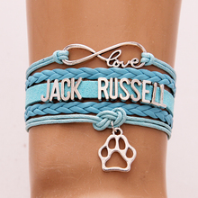 Infinity Love Jack Russell Bracelet & Bangles Wax Leather Braided Dog Paw Charm Wristband Jewelry For women men Christmas Gift(China)