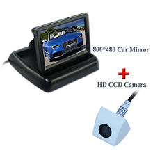 "2 in 1 HD CCD rear view camera + 4.3"" 800*480 Car Mirror Monitor+ Car  parking camera monitor Factory Promotion"