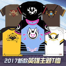 New Design Game OW D.VA/Tracer/Reaper/McCree/Lucio all Heros Cosplay t-shirt Summer Top tshirt in stock free shipping 2017(China)