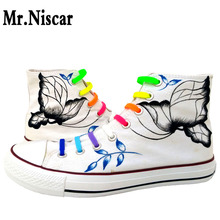 Mr.Niscar Womens White Casual Shoes China Art Design Free Shipping Women Fashion Canvas Shoes Colorful Custom Graffiti Shoes