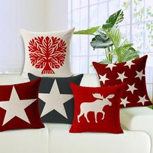 Red And Gray Pentacle Thick Cotton Linen Throw Cushion Cover Elk Home Decorative Pillowcases Sofa Pillow Cover 45*45cm