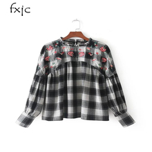2017 women's autumn fashion long-sleeved embroidered plaid shirt collar ZR200(China)