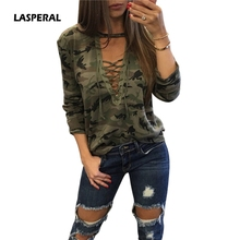 LASPERAL Fashion 2017 Bandage Camouflage T-Shirt Women Full Sleeve Tops Tees Sexy Femme Autumn T-Shirts Hollow Out Tee Plus Size(China)