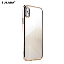 SULADA For Apple iPhone X/10 Electroplating Soft TPU Back Mobile Casing for iPhone X/10 - Gold(China)
