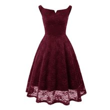 Buy Vintage Elegant Lace Dress Business Ladies Party Dresses Sexy Open Back Night Club Halter Slash Neck Sleeveless Short Lace Dress