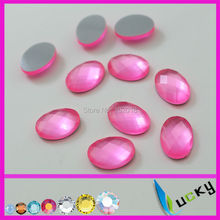 1440PCS 10*14mm oval shape florscent pink color hotfix epoxy flatback pearl rhinestone perfect look