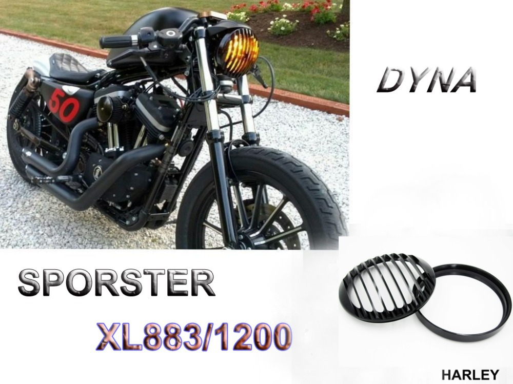 BLACK HEADLIGHT ALUMINUM COVER Harley Dyna Sportster Softail 48 883 1200<br>