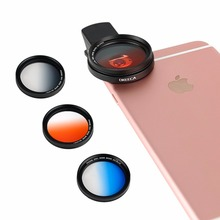 OKEECA Colorful 4PCS 37mm Carry Professional Camera Lens Graduated Filter Kit fit iPhone Samsung Smartphone Red/Blue/Orange/Gray