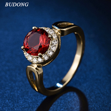 2017 BUDONG Brilliant Jordans Women Halo Big Finger Band Gold Color Ring Round Cut Crystal CZ Zircon Wedding Jewelry R326(China)
