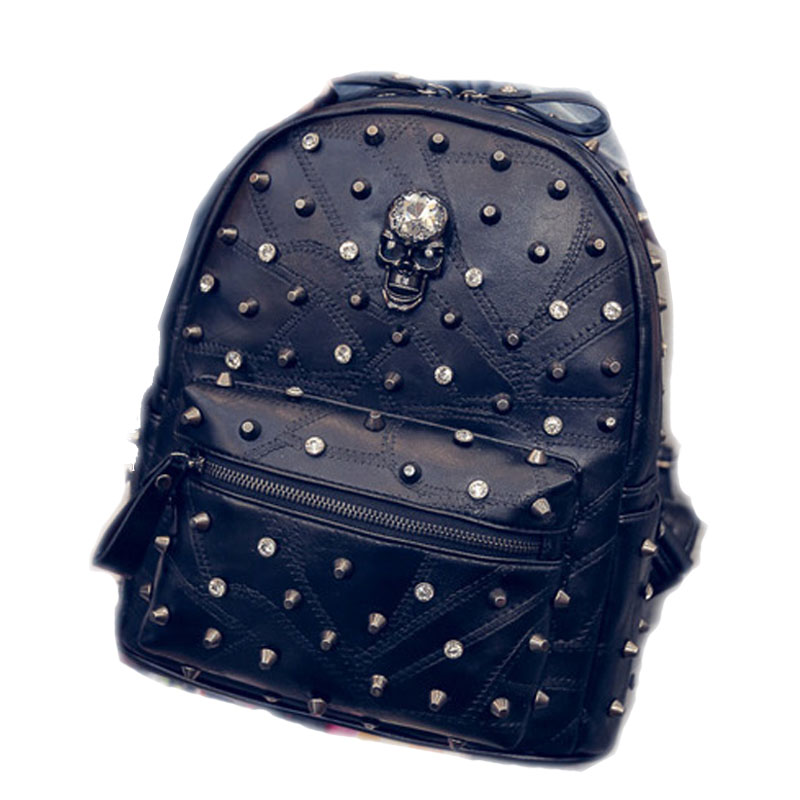 Unique Design Crystal Skull Women Daypacks Fashion Rivet Black PU Leather Shoulder bag Casual Female Shopping Bag School Bags<br><br>Aliexpress