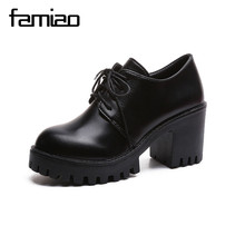 FAMIAO women shoes lace up high heel zapatos mujer office platform gladiator ladies shoes chaussure femme black shoes