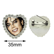 2017 New Classic Michael  Heart Brooch King of Pop Crystal Pins Glass Brooches Handmade Photo Pins Gifts Fan