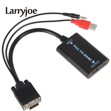 Larryjoe New VGA to HDMI Cable for 1080P Converter HD Audio AV Converter HDTV Video Cable VGA2HDMI For HDMI TV Laptop(China)