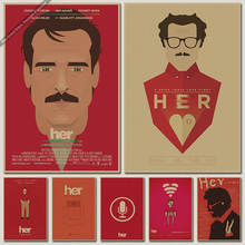 Her Oscar Poster retro kraft paper coffee decorated core wall paintings wallpaper paste wall sticker