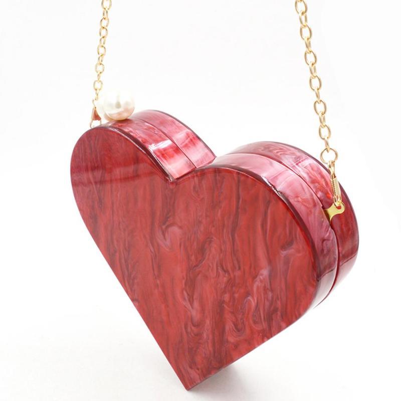 Red Color Acrylic Box Clutch Women Handbag  3D Heart Shape Pear Crossbody for Girls Party Wedding Clutch Handbag Shoulder Bag Y2<br>