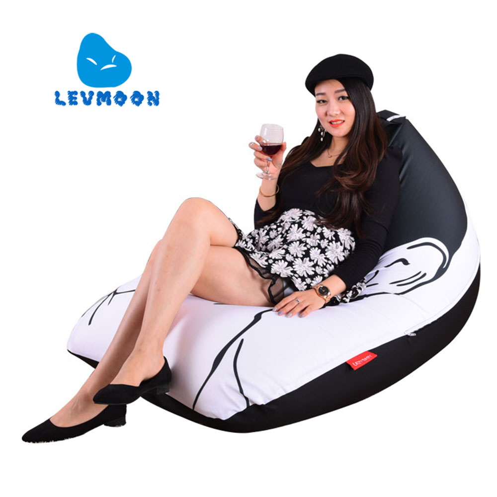 LEVMOON Beanbag Sofa Chair Yao Ming Seat Zac Comfort Bean Bag Bed Cover Without Filler Cotton Indoor Beanbag Lounge Chair<br>