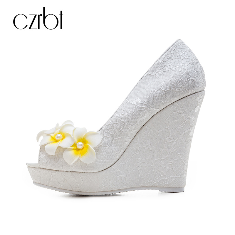 CZRBT Spring Summer Crystal and Flower Women Elegant Wedges High Heels 12cm Shoes Sexy Peep Toe with Lace Skin Big Size Shoes  <br>
