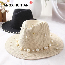 2018 New Spring Summer Hats For Women Flower Beads Wide Brimmed Jazz Panama Hat Sun Visor Beach Hat Flower Pearl rivet Straw Hat(China)