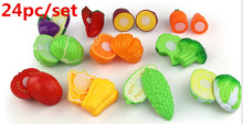 WholeSale Price 24PC Cutting Fruit Vegetable Pretend Play Children Kid Educational Toy Pretend Play toys for children(China)