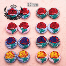 10pcs 17mm Flower Embroidery Striated Fabric Covered Round Flatback Buttons DIY Home Garden Scrapbooking