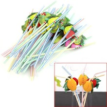 E74 3D Fruit Umbrella Cocktail Drinking Straw 50 Assorted Party BBQ Theme Decoration