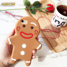 Buy 3D Cute Christmas Gingerbread Soft Silicon Case iPhone X XS 6 6S 7 8 Plus 3D Cartoon Man Dolls Cover Case iPhone 5 5S SE