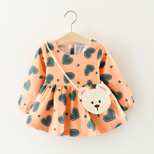 Multicolor baby Dresses Heart Print Dresses For Girls With Bag 2Pcs Kid Clothes Infant Clothing For Children Autumn Girl Dress(China)