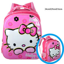 Little Girls 3D Hello Kitty Printing Backpack/Student Cartoon Designer Book Bags/Children Anime Nylon School Bag Mochila