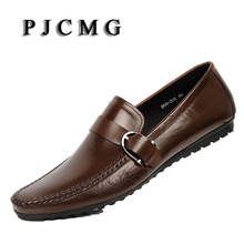 PJCMG New Brand Moccasins Men Genuine Leather Casual Breathable Lazy Hasp Men's Clothing Men Business Casual Boat Flats Shoes(China)
