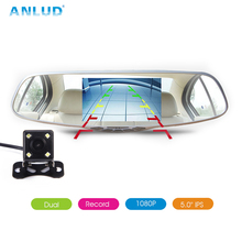 ANLUD Dash Camera 5.0 Dual Lens Dashcam GPS 1080P Car DVR Rear View Mirror Monitor Video Recorder DVR 3IN1 Dash Cam Car-detector(China)