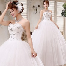 Free shipping 2015 new arrival cheap white wedding frock lace up fashion wedding dress design wedding gown Vestidos De Novia H44