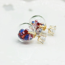 2015 new design fashion brand jewelry glass Flowers Crystal stud earring double side Summer style Daisy earring for women(China)