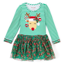 2017 Lovely Toddler Kids Girls Christmas Dress Long Sleeve Striped Floral Patchwork Tutu Mini Dresses One Pieces Outfit Clothing