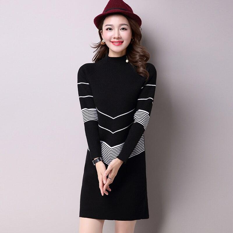 2017 Korean Fashion Women Autumn Winter Warm Knitted Sweater Dresses Half Turtleneck Long Sleeve Sexy Mini KnitwearÎäåæäà è àêñåññóàðû<br><br>