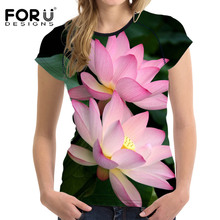 FORUDESIGNS Women 3D Tshirt Lotus Floral Printing Tops Crew Neck Casual Shirt For Ladies Elastic Slim Soft Bodybuilding Clothes(China)