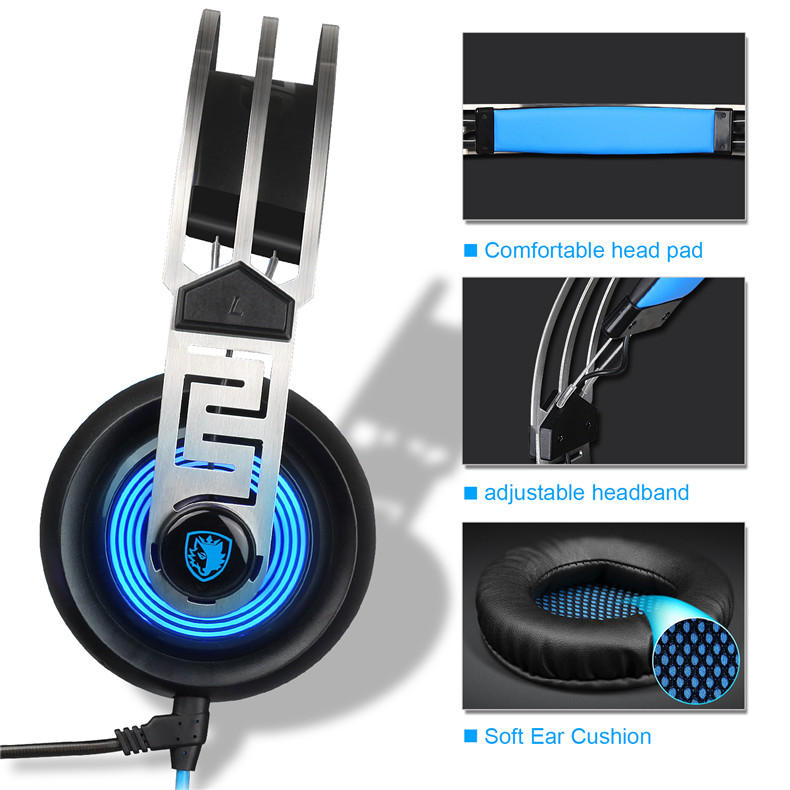Sades A7 USB Gaming Headset Headphones 7.1 Stereo Surround Sound Earphone Game Headphone with Microphone Led for PC Laptop Gamer (10)