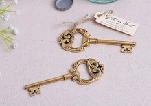 "(DHL,UPS,Fedex)FREE SHIPPING+50pcs/Lot+""Key to My Heart"" Antique Gold Key Wine Bottle Opener Golden Wedding Favors&Accessories(China)"