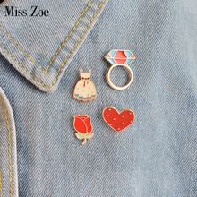 Miss Zoe 4pcs/set Cartoon Rose Flower Dress Ringshaped Heart Brooch Button Pins Denim Jacket Pin Badge for Bag Hat Jewelry Gift