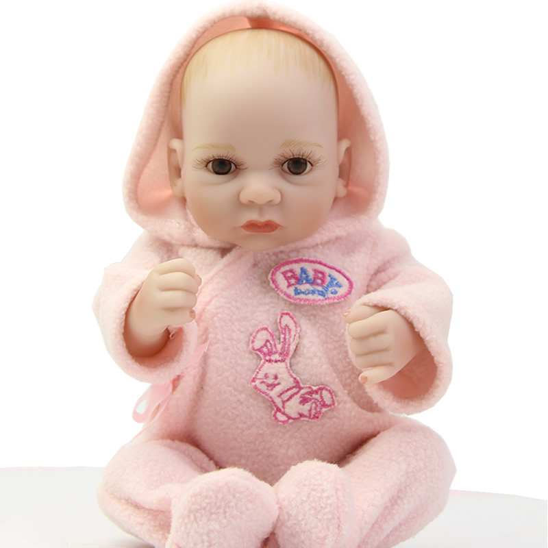 NPK Collection Newborn Girl Dolls 11 Inches Full Silicone Soft Little Peanut Wearing Pink Clothes Kids Birthday New Year Gift<br><br>Aliexpress