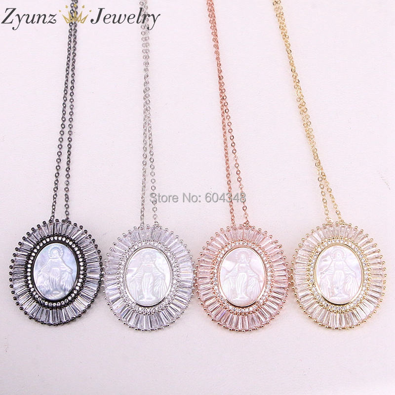 5 Strands ZYZ310-2096 Women Necklace Mix Color Jesus /Virgin Mary Mother Shell Pendant Female Necklaces Religious Jewelry