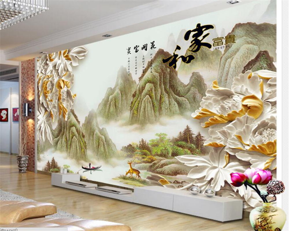 papel de parede Home decoration 3d wallpaper photo living room bedroom murals wood carvings peony landscape painting wall paper<br><br>Aliexpress