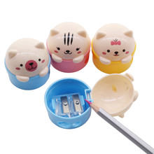 2pcs/lot Pencil Sharpener Cute Cat Two Caliber Plastic Material Save Garbage Primary School Students Study Supplies(China)