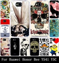 Cool Skull Head Phone Skull Life Painted Hard PC & Soft TPU Cases For Huawei Honor Bee/Y5C/Y541 Case Cover Back Skin Shell