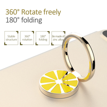 Light Luxury for cellphone lemon-liked ring stand holder universal alloy whole metal automotive magnetic bracket(China)