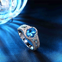 SHUANGR Unique Jewelry Blue Oval Zircon Stone Ring White Gold-Color Wedding Engagement Rings For Women Men