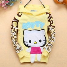 EMS/DHL Free Shipping 2014New Arrival !Hot! Autumn Winter Hello Kitty Girls Long Sleeved Sweater  Hooded Jacket Girl Wear
