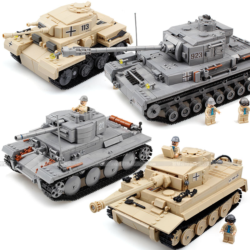 Blocks  assemble toys world war ii toy german tanks plastic car model<br>