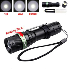 LED Flashlight 3Mode Q5 LED Torch Adjustable Zoom Focus Torch Lamp Penlight Black Portable Waterproof  Mini Lamp Light For 18650